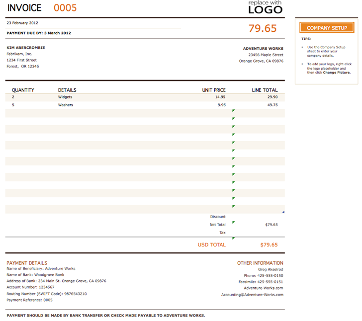 Free Billing Invoice Template Xltx 45kb 2 Pages