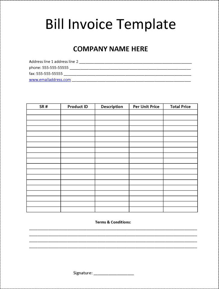 Billing Invoice Template Template Free Download Speedy Template