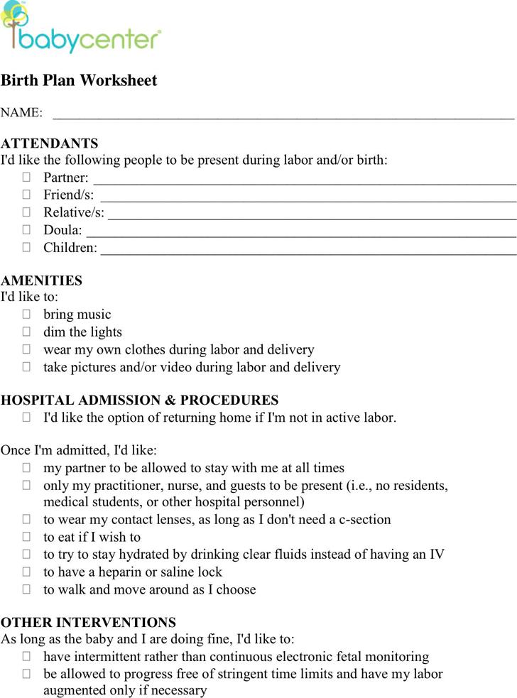 Free Birth Plan Worksheet   PDF   144KB   4 Pages