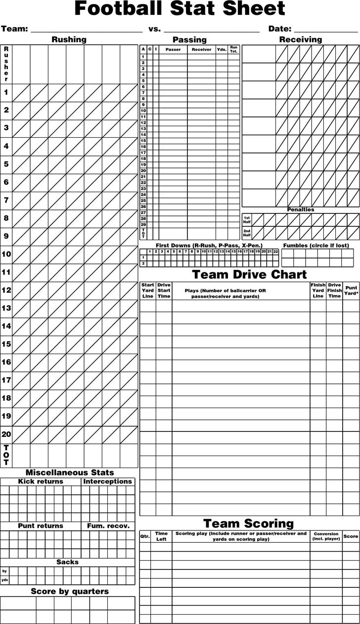 free blank football stat sheet pdf 12kb 1 page s. Black Bedroom Furniture Sets. Home Design Ideas