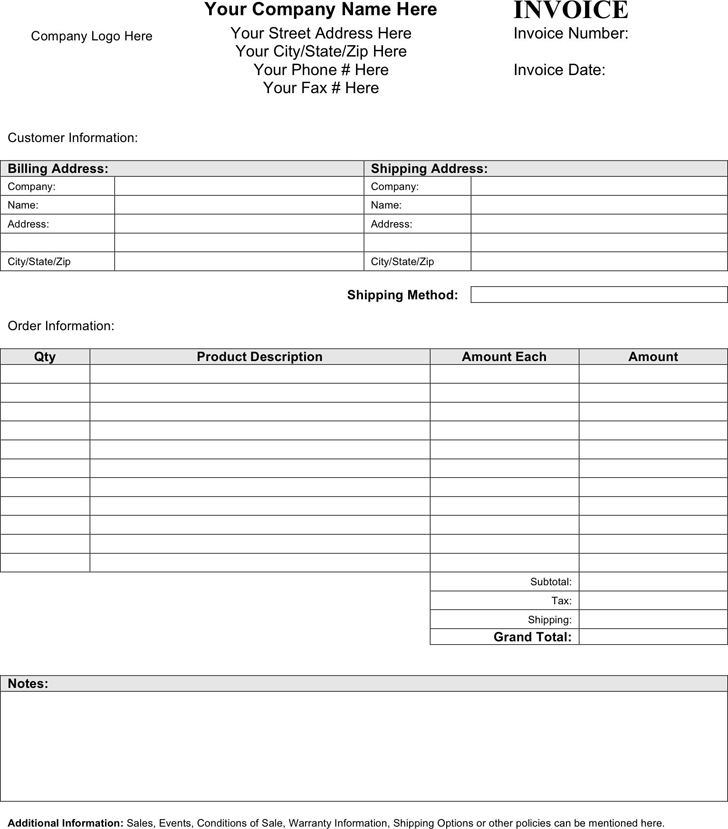 Blank Invoice Template 2