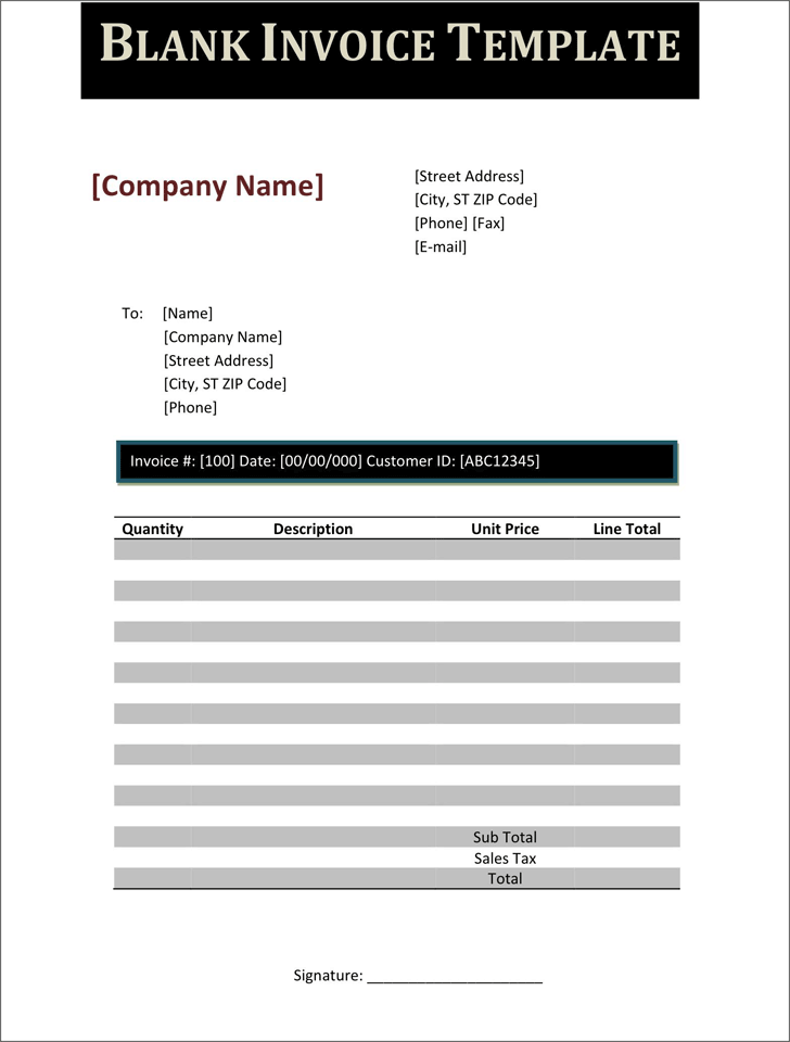 Blank Invoice Template Template Free Download Speedy Template