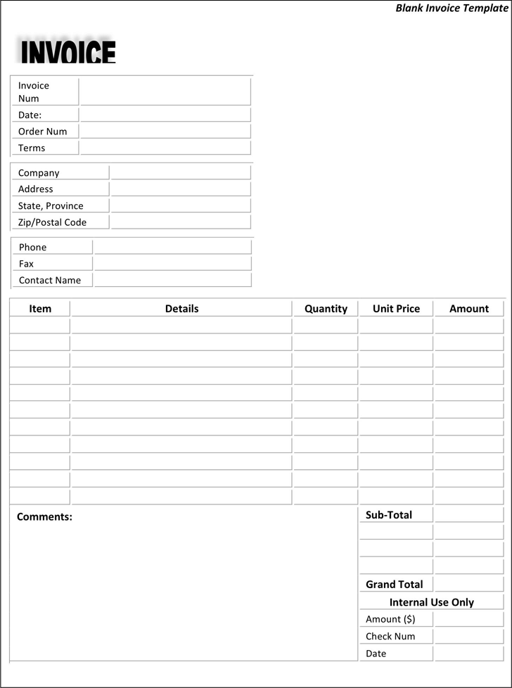 Blank Invoice Template 4