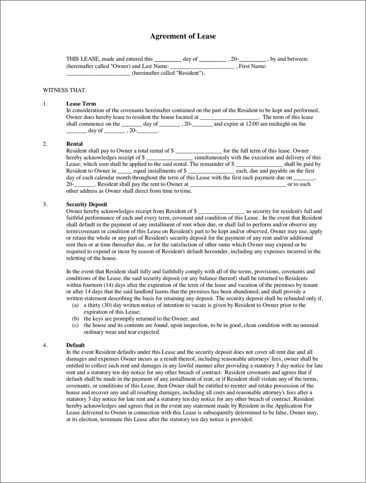 Blank Lease Agreement 1