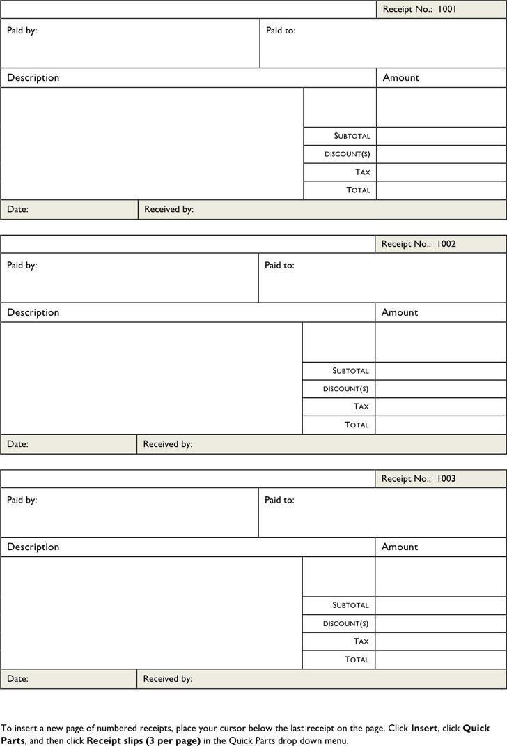 Free Blank Receipt Template - dotx | 62KB | 2 Page(s)