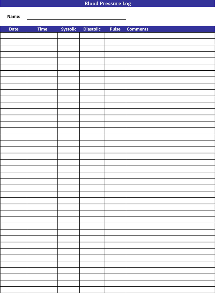 photograph relating to Free Printable Blood Pressure Log Sheets called Free of charge Blood Strain Log - PDF 18KB 1 Web site(s)