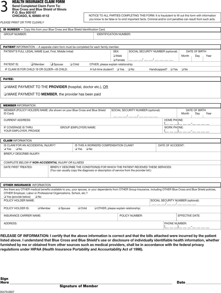 Free Blue Cross Blue Shield Association Medical Claim Form ...