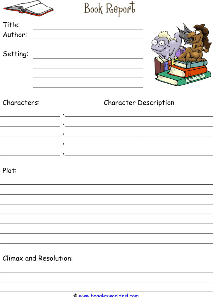 template for book report