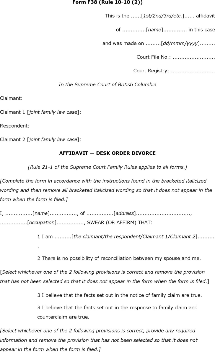 Free British Columbia Affidavit Desk Order Divorce Form