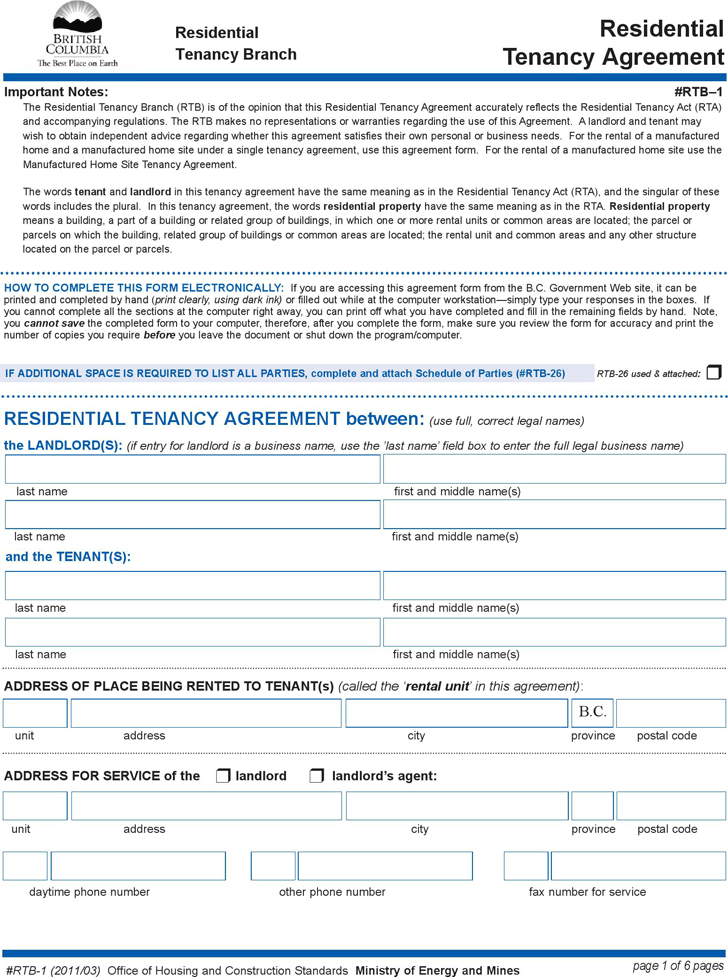 British Columbia Residential Tenancy Agreement Form
