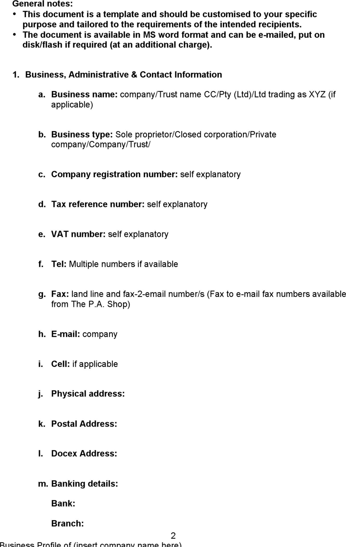 Free Business Company Profile Template - doc | 42KB | 5 Page(s) | Page 2