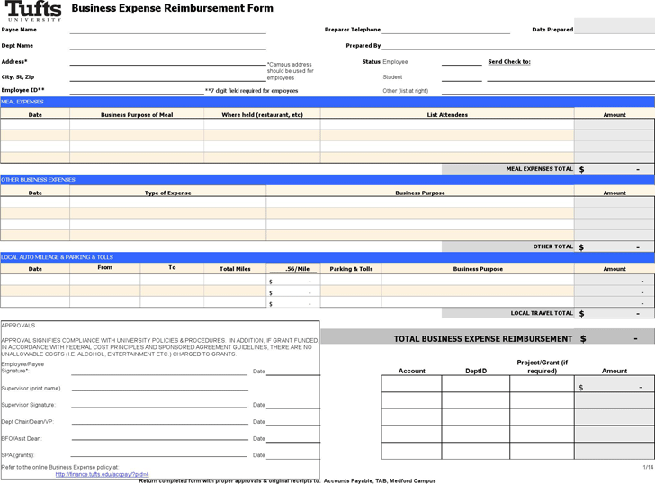 Free Business Expense Reimbursement Form Xls 101kb 1 Page S