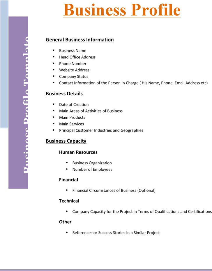 Business Profile Template 2  Company Business Profile Sample
