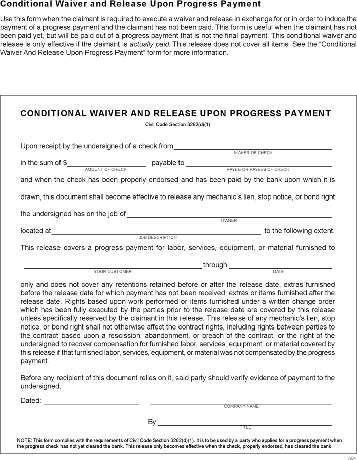 Free California Conditional And Unconditional Release Forms - PDF