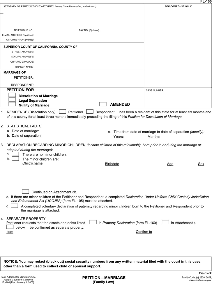 Free California Divorce Petition Form - PDF | 175KB | 2 Page(s)