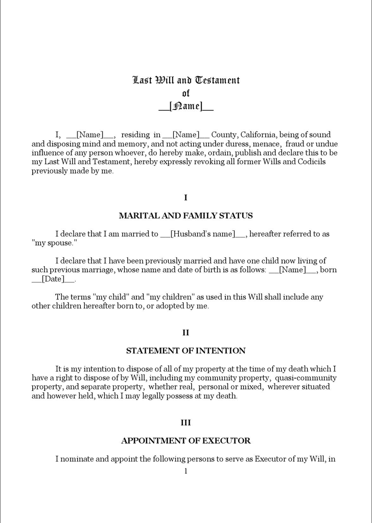 Last will and testament template free template downloadcustomize california last will and testament form 1 maxwellsz