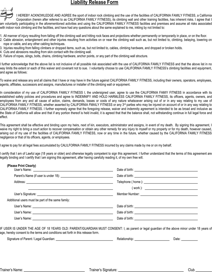 Free California Liability Release Form Pdf 36kb 1 Page S