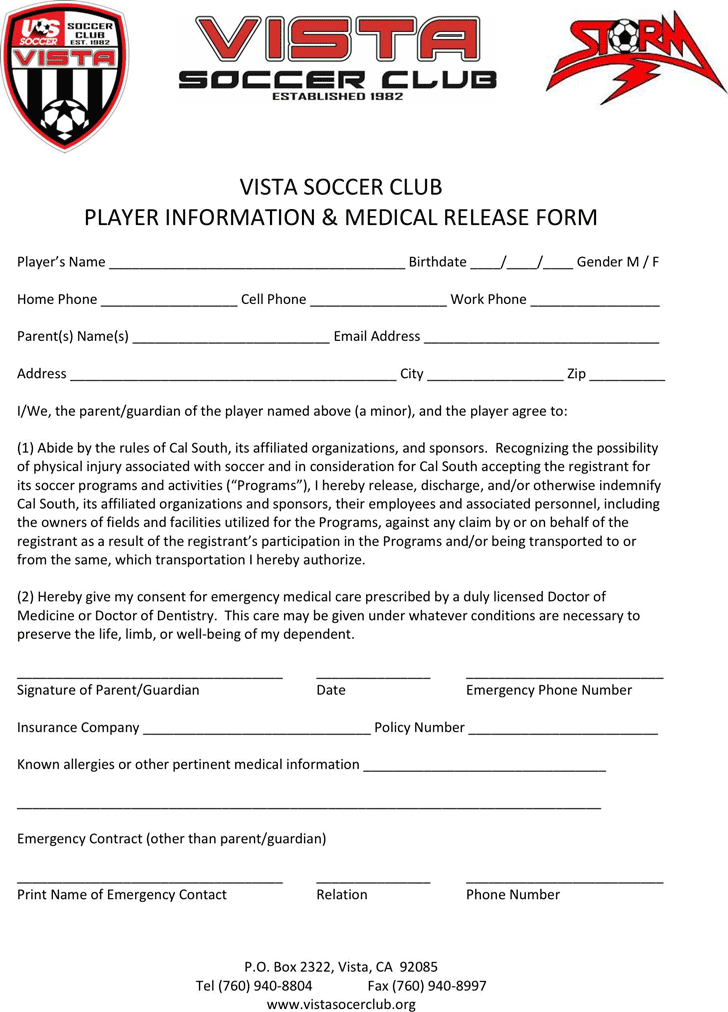 Free California Player Medical Release Form - PDF   210KB   1 Page(s)