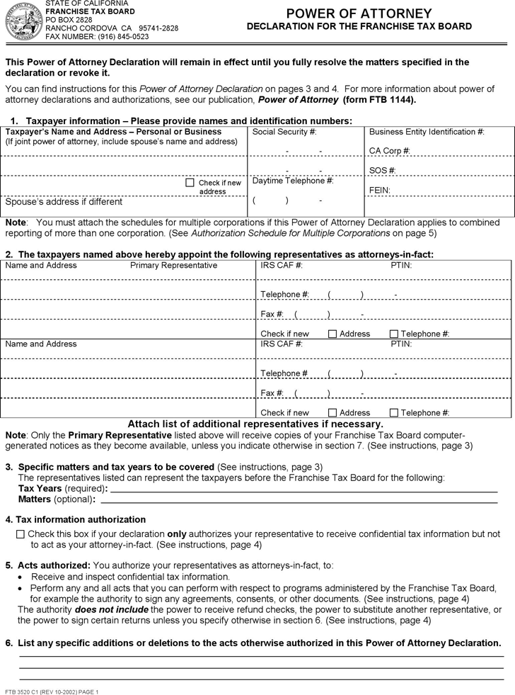 California Power of Attorney Declaration for the Franchise Tax Board Form