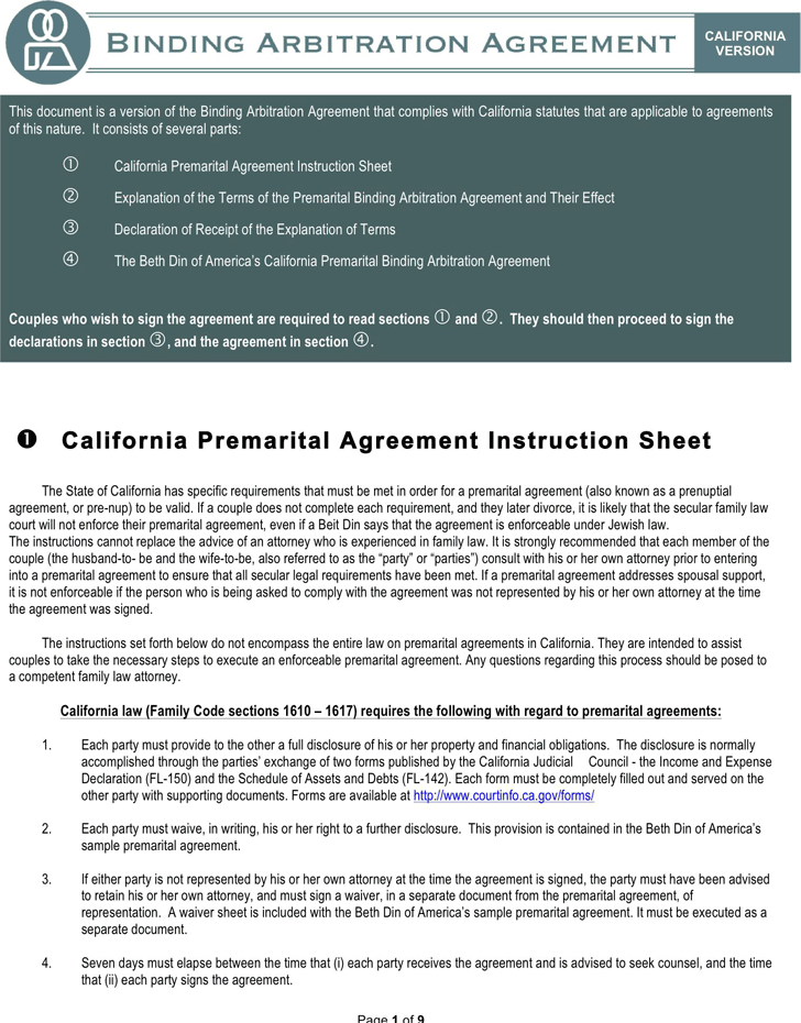 Free California Prenuptial Agreement Sample - doc | 2279KB | 9 Page(s)