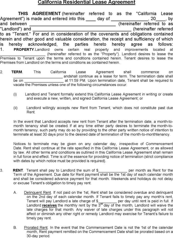 Free California Residential Lease Agreement Pdf 55kb 8 Pages