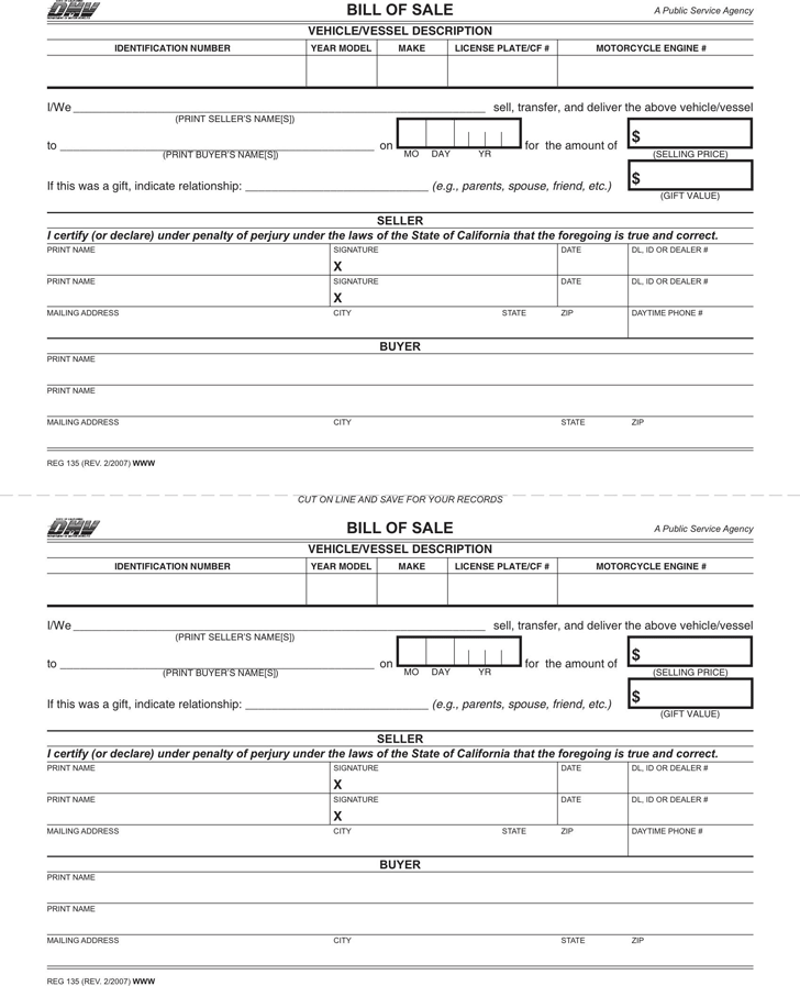 California Vehicle Bill of Sale Form