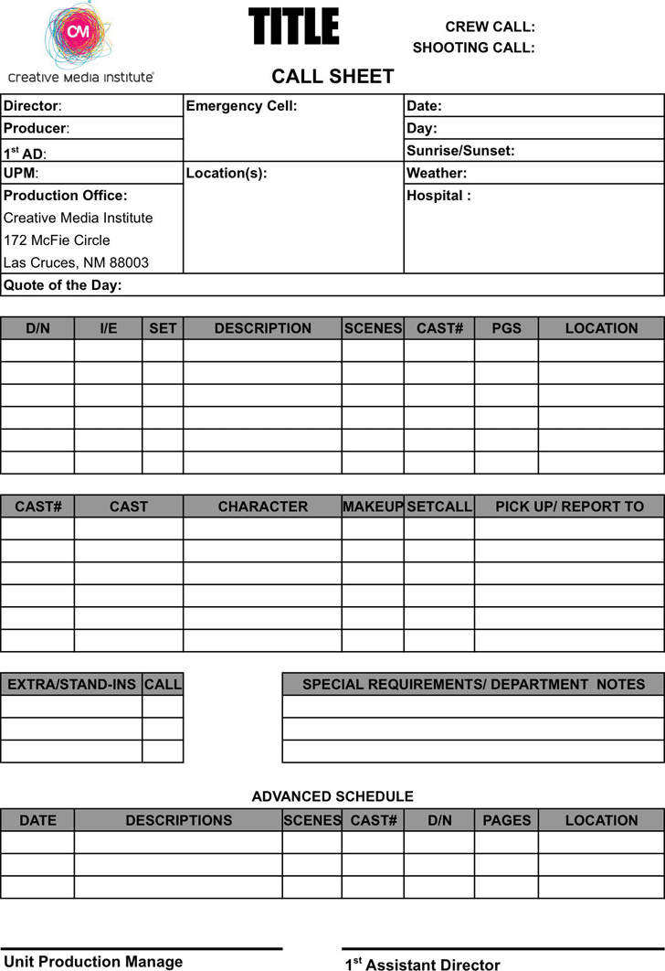 Call Sheet Template - Template Free Download | Speedy Template