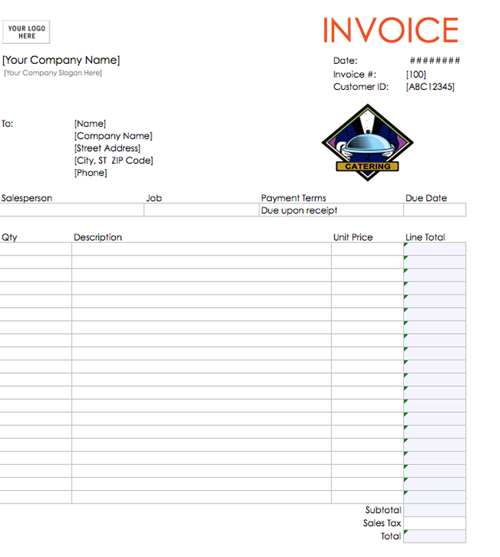 Catering Invoice Template 1  Invoice Format Download