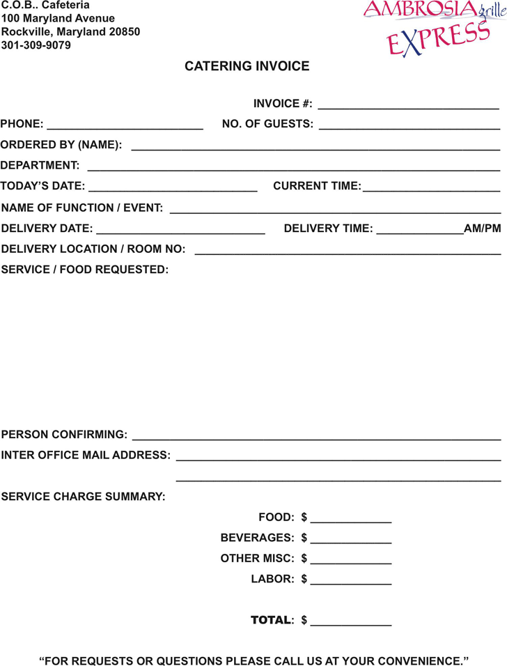 Catering Invoice Template 2