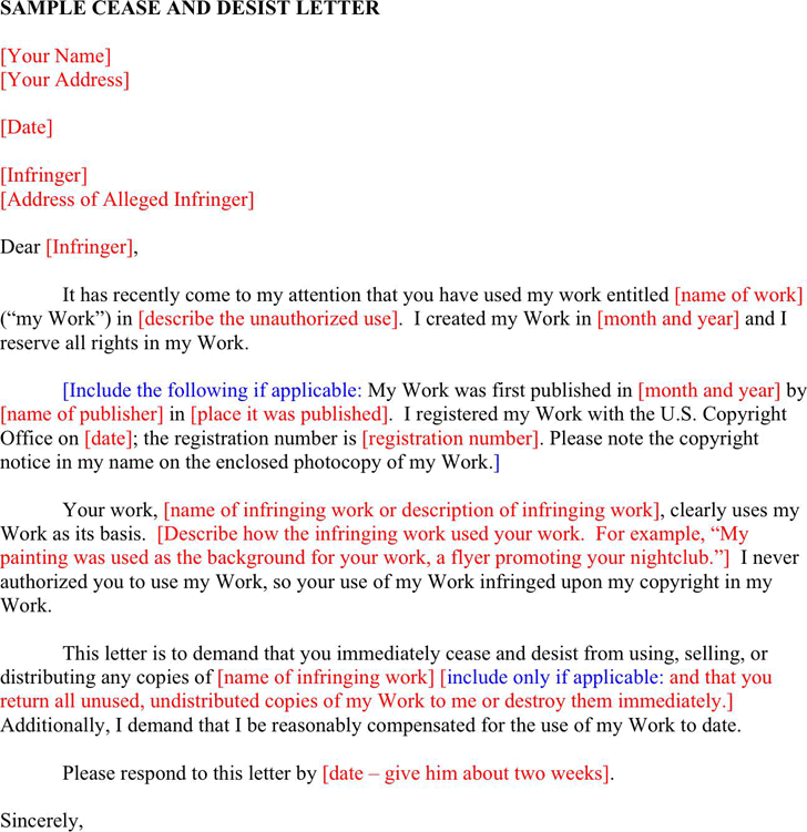Free Cease And Desist Letter from www.speedytemplate.com