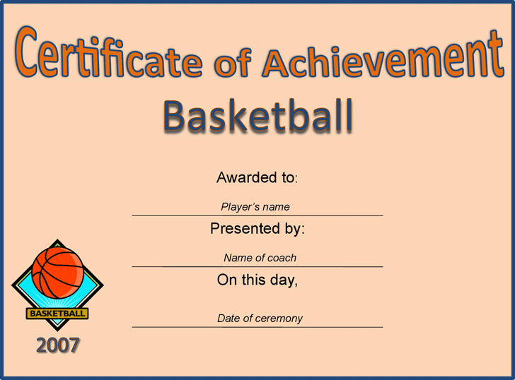 Sports certificates template free download speedy template sports certificates certificate of achievement basketball yadclub