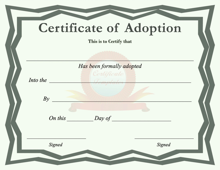 Adoption Certificate Template Free Download Speedy
