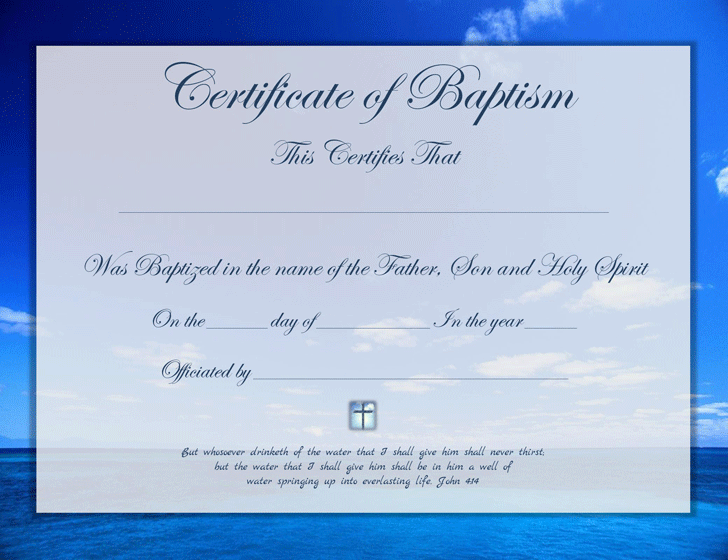 Baptism certificate template free download speedy template for Free water baptism certificate template