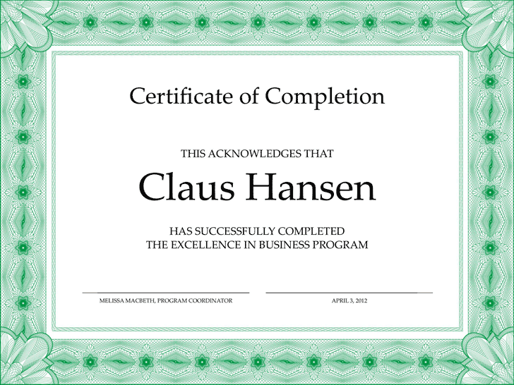 Certificate of Completion Template - Template Free Download | Speedy ...