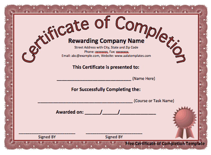 Certificate of completion template template free download certificate of completion template 3 yelopaper Gallery
