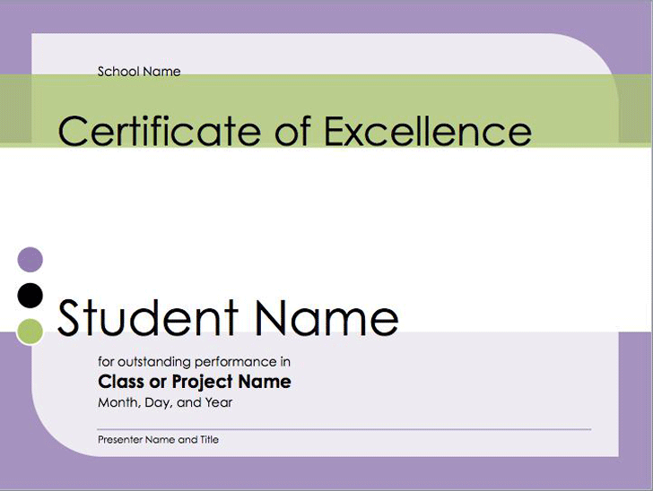 Certificate Of Excellence For Student  Certificate Of Excellence Template