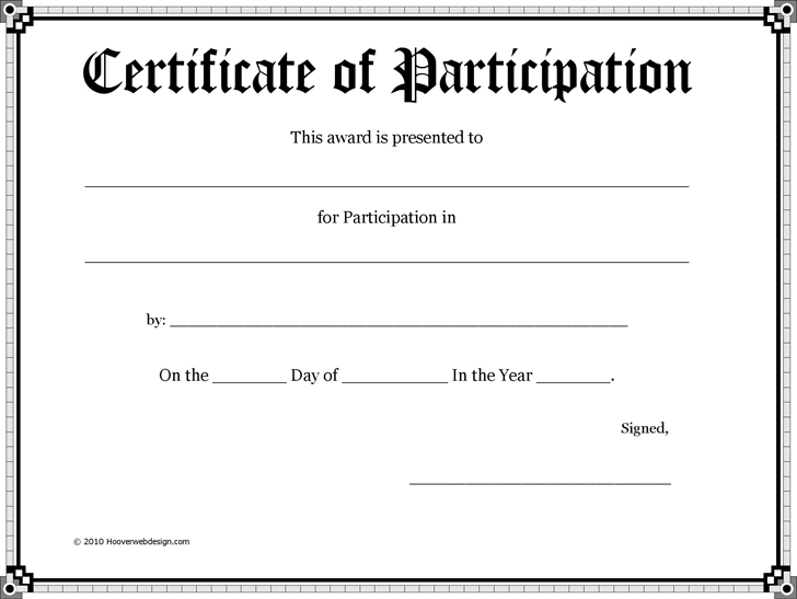 Certificate of Participation 3
