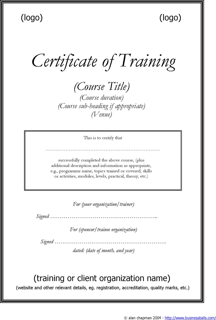 Training Certificate Template Free Download Speedy Template