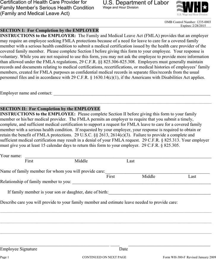 Free Certification Of Health Care Provider For Family Member S Serious Health Condition Pdf 138kb 4 Page S