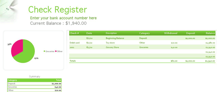 free checkbook register printable