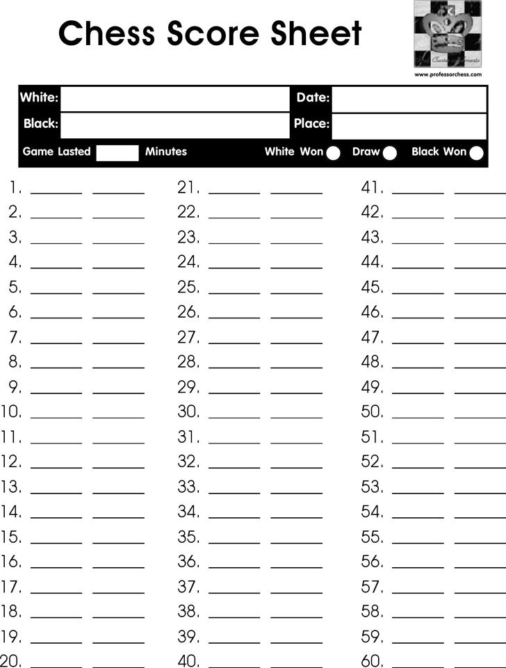 Chess Score Sheet 1