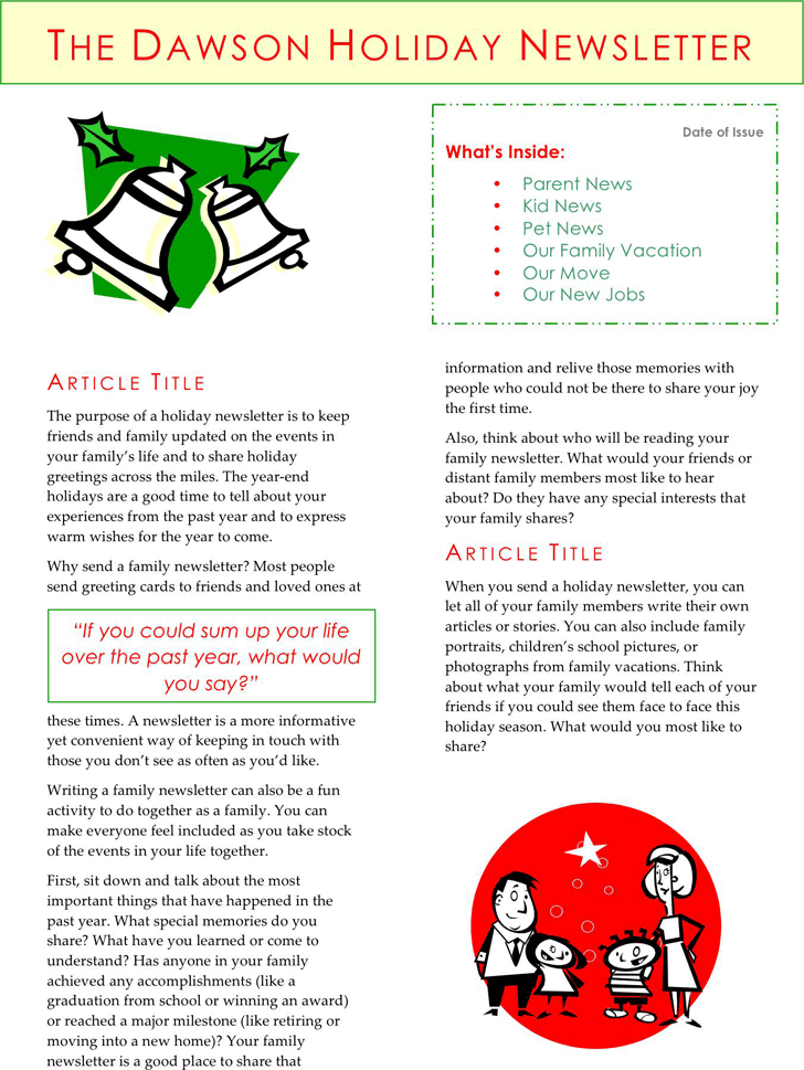 christmas newsletter template free download speedy template