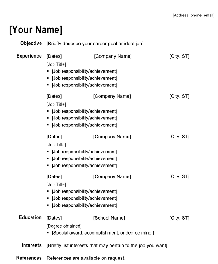 Chronological Resume - CV (Modern Design)