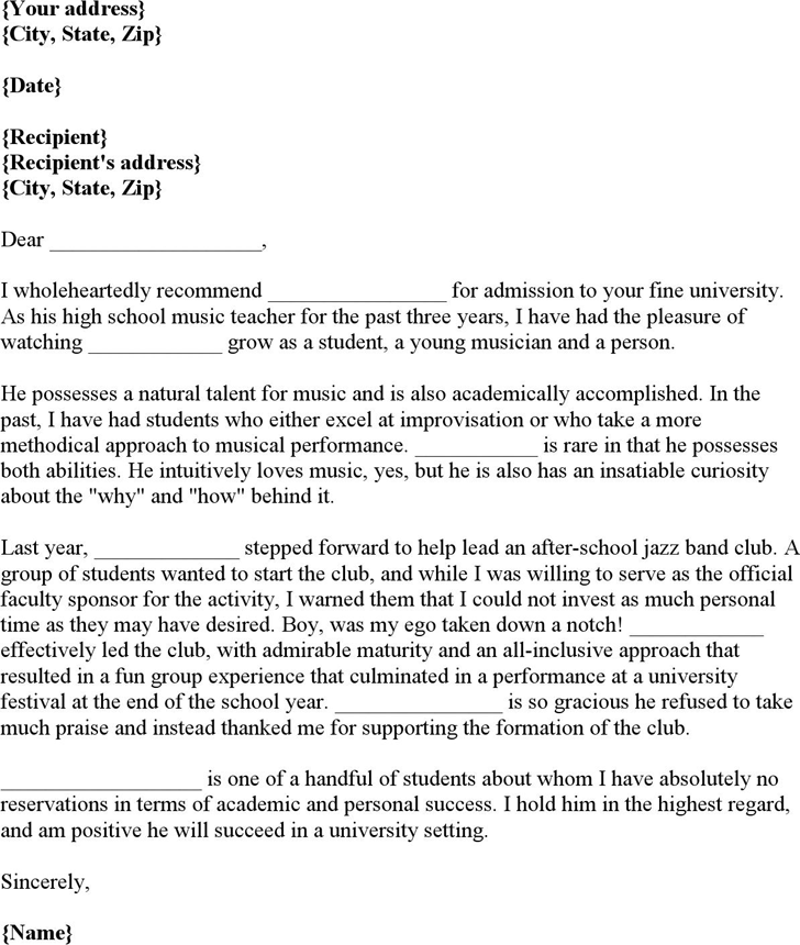 College recommendation letter template free download speedy template college recommendation letter music student spiritdancerdesigns Choice Image