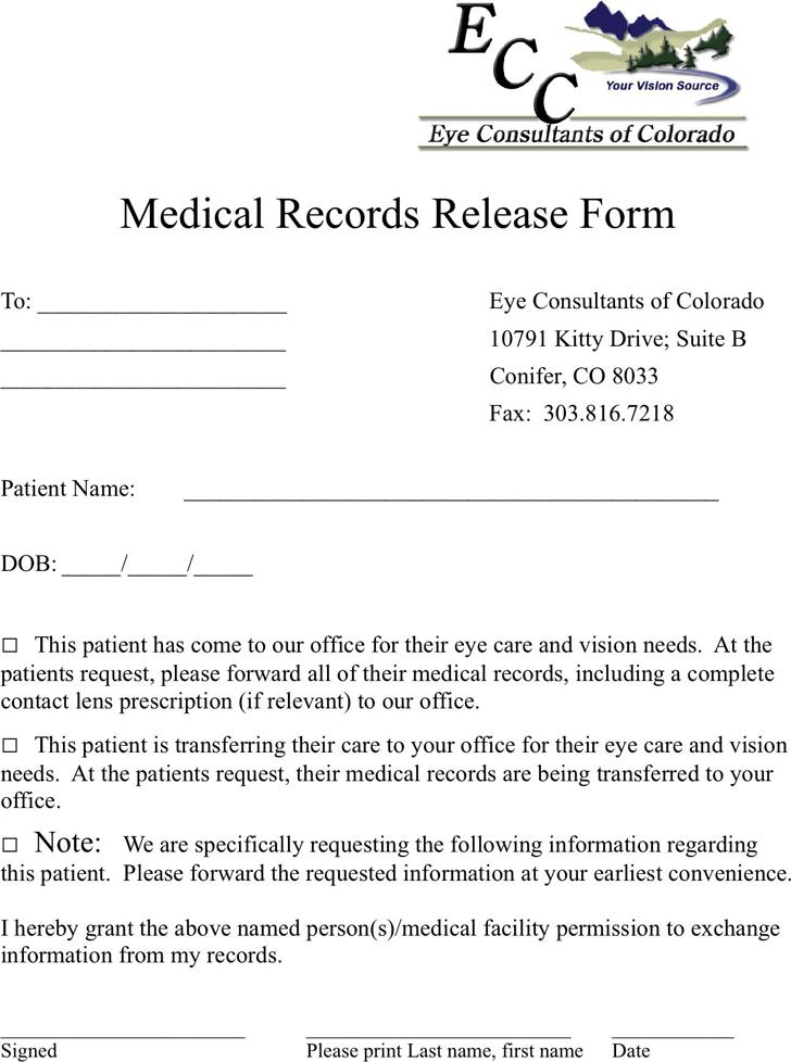 Colorado Medical Records Release Form 3