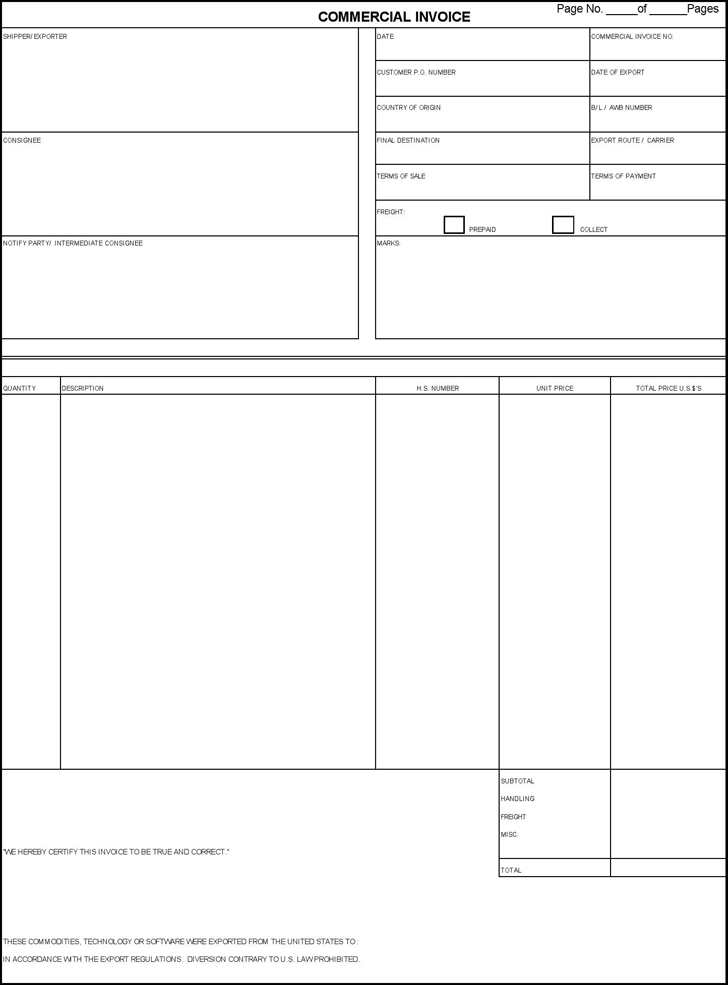 commercial invoice template template free download speedy template