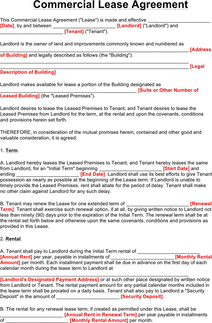 Commercial Lease Agreement Template Free Download Speedy Template