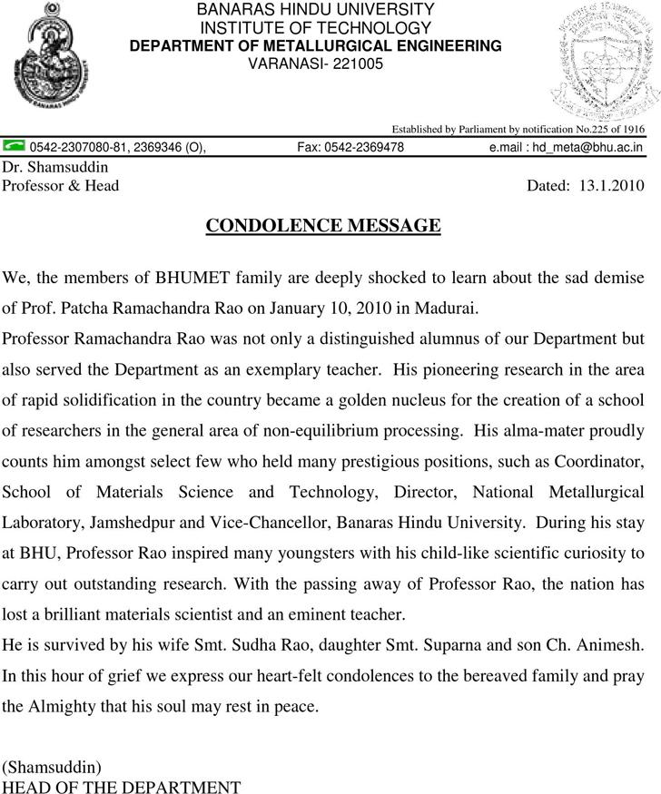 Condolence Letter Sample Pdf