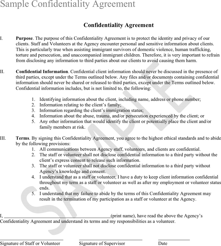 Confidentiality Agreement Sample Template Free Download Speedy