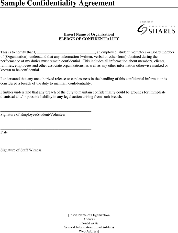Free Confidentiality Agreement Sample Pdf 25kb 1 Pages